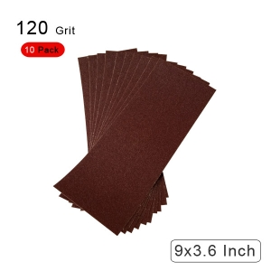 10 Pieces 120 Grit Sandpaper Assortment Dry/ Wet 9 x 3.6 Inch