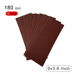 10 Pieces 180 Grit Sandpaper Assortment Dry/ Wet 9 x 3.6 Inch
