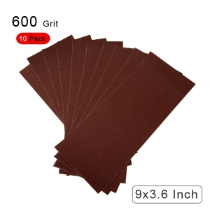 10 Pieces 600 Grit Sandpaper Assortment Dry/ Wet 9 x 3.6 Inch
