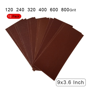 10 Pieces 120 to 800 Grit Sandpaper Assortment Dry/ Wet 9 x 3.6 Inc2