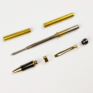 PKM-3-G Gold Plating With Gunmetal Top Cap Twist Pen Kit